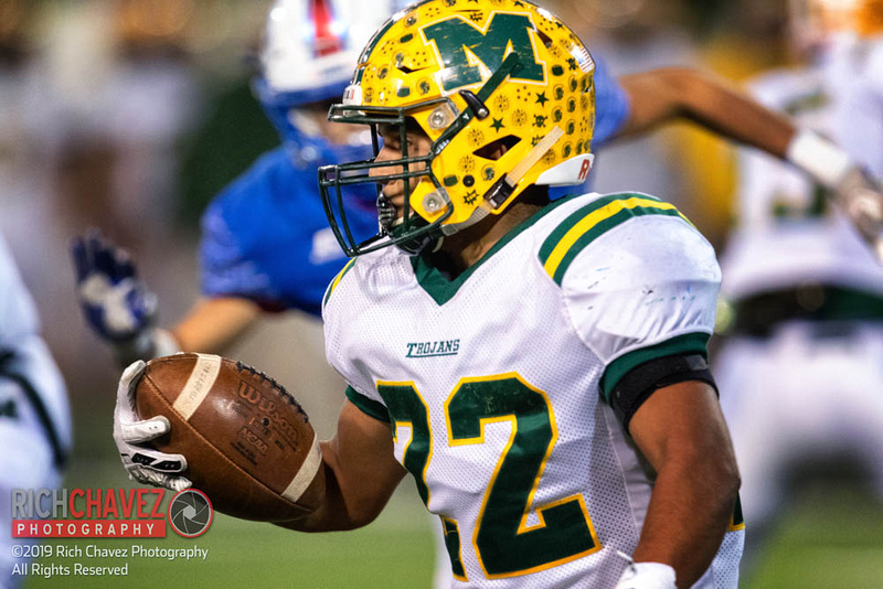 Mayfield RB Matthew Riley rushes the ball for a gain in the first quarter of the game.